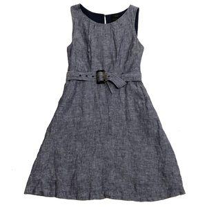 Tahari Linen Belted Chambray Sleeveless Dress